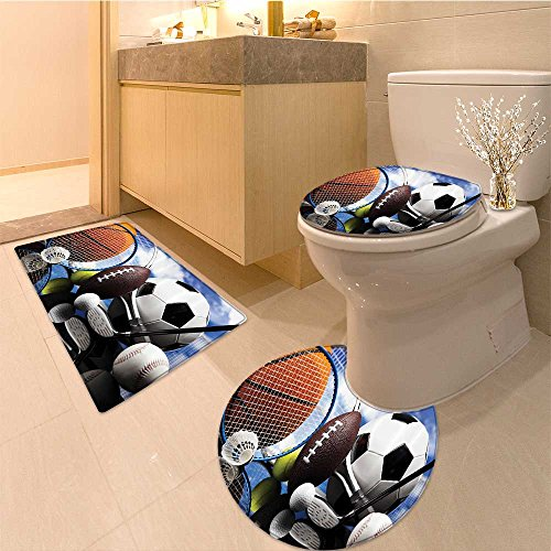3 Piece Bathroom Rug Set Collection Stars and Stripes Patriotic American Soccer with American Flags Design Pr Extra Soft Memory Foam Combo - Rug, Contour Mat and Lid Cover
