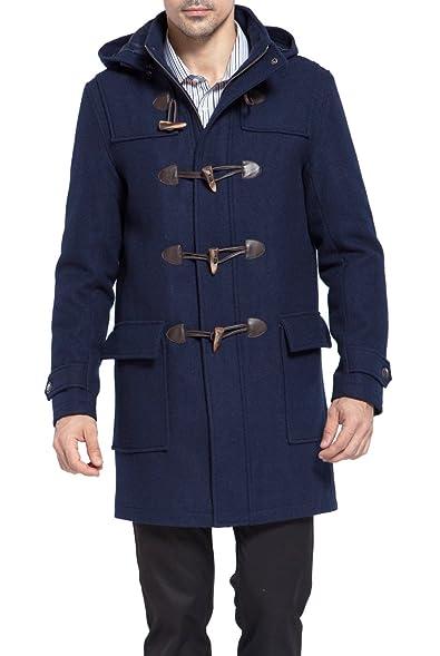 BGSD Men's 'Benjamin' Wool Blend Classic Duffle Coat at Amazon ...
