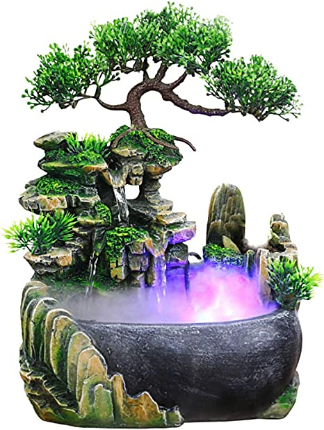 Indoor Table Top Waterfall Water Feature /& Coloured LED Lighting