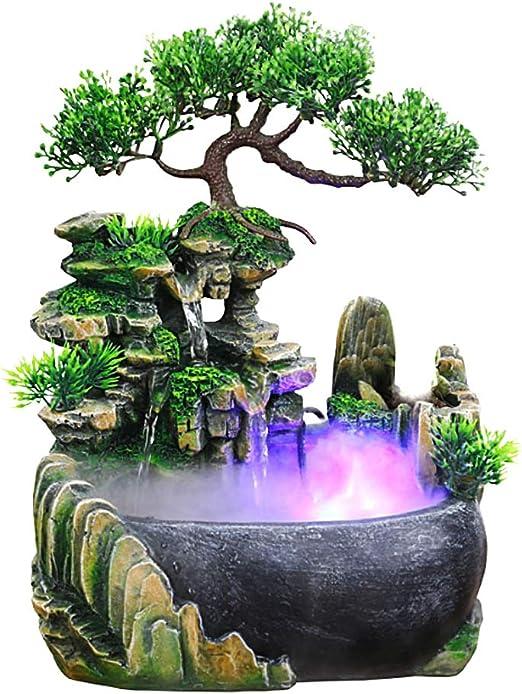 Jeffergarden Fuentes de Agua Decorativas Interior Decoración de Oficina Fuente Interior Cascada Fuente de Agua de Mesa LED Función de Uso Interior y Exterior: Amazon.es: Hogar