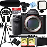 Sony a7R II Full-frame Mirrorless Interchangeable Lens 42.4MP Camera Body Only w/ Tascam DSLR Audio Recorder and Shotgun Microphone + 128GB & 64GB Pro Video Bundle