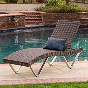 Manuela Outdoor Single Multibrown Wicker Chaise Lounge Chair Part 46