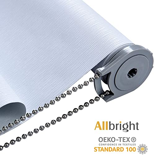 ALLBRIGHT Thermal Insulated UV Protection 100 Blackout Waterproof Window Roller Shades Blinds with Striped Jacquard 58 x 72 inches, Static White