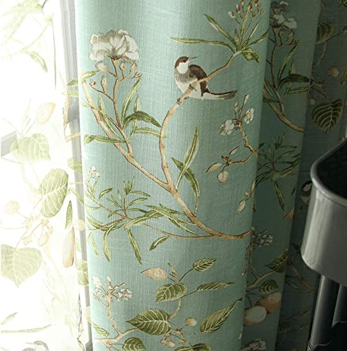pureaqu Printed Semi Blackout Curtains for Bedroom with Floral Birds Patterns Grommet Thermal Insulated Room Darkening Vintage Curtains for Living Room Sliding Glass Door 1 Panel W114xH84