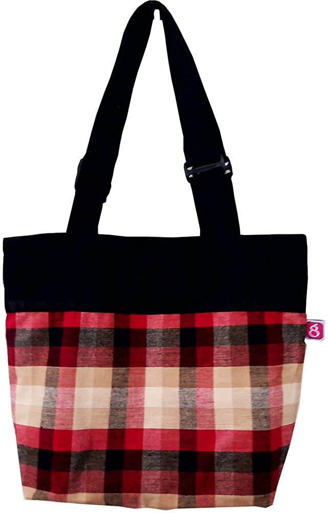 27f2b97731 Evagloria Cotton Canvas Tote Bag with zip closure - Black   Red Checks - Zipper  pouch inside - Polyester Lining  Amazon.in  Shoes   Handbags