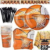 177 Piece Basketball Party Supplies Set Including Banner, Plates, Cups, Napkins, Cutlery, and Tablecloth, Serves 25