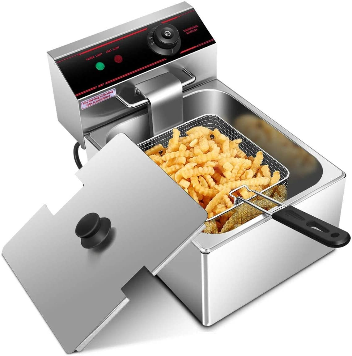 ARLIME Deep Fryer with Basket, 2500W Electric Stainless Steel Deep Fryer with 6.4 Quart Oil Container & Lid, Adjustable Temperature, Large Capacity Kitchen Frying Machine Perfect for Chicken, Shrimp, French Fries and More
