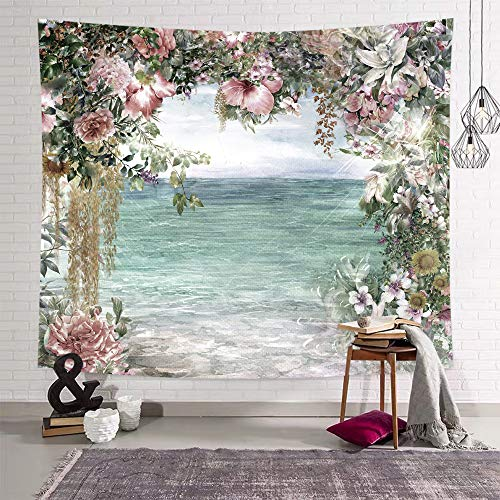 DEQI Flower Sea Tapestry Wall Hanging Rose Lily Wall Tapestry Light Blue Nature Elegant for Livingroom Bedroom Dorm Home Decor W90 x L71