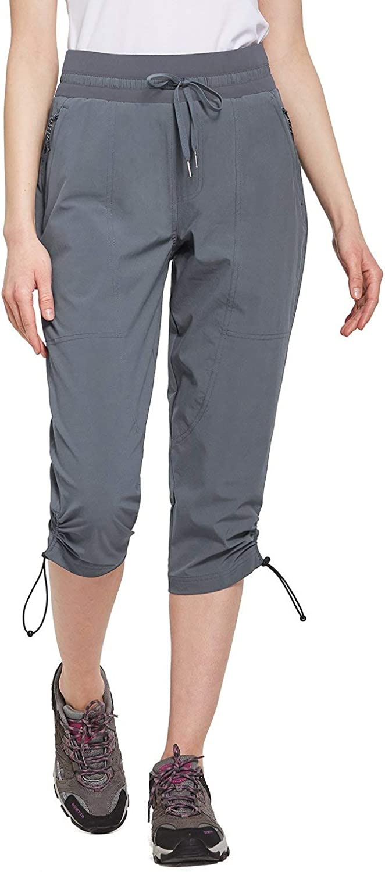 Zipper Pocket Deep Gray XXXL BALEAF Womens Hiking Capri Outdoor Capri Quick Dry Jogger Shorts UPF 50