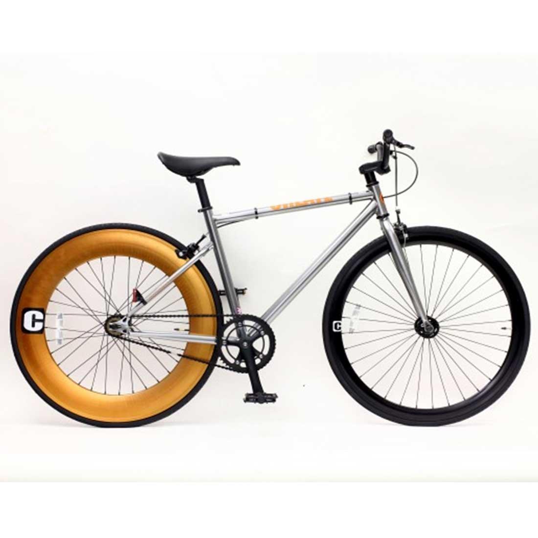 【CREATE BIKES Single-PisteBike】 ストリートピストバイク  湘南鵠沼海岸発信 B0765R275Rシルバー 520mm(170cm~)