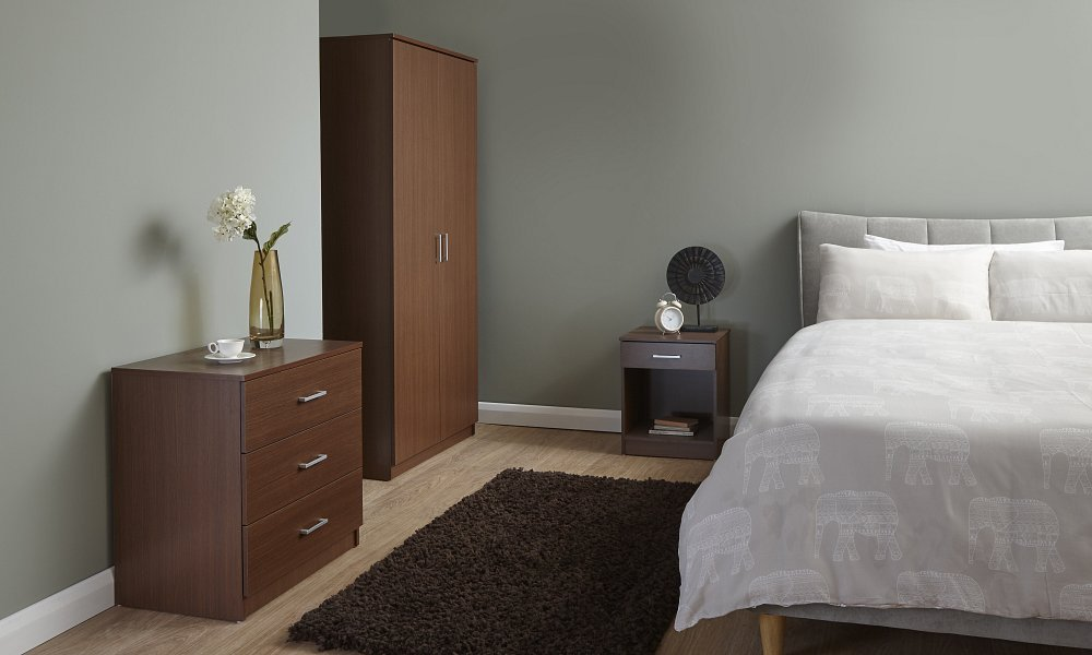 Home Source 3 Piece Bedroom Wooden Furniture Sets - Wardrobe, Chest, Bedside - Walnut