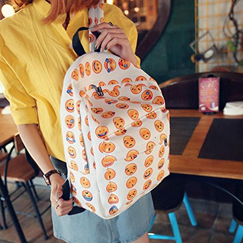 Malloom Chica mujer sonriente emoji impresión mochila bolso lindo viaje mochila bolsa para la escuela (rosa caliente) blanco