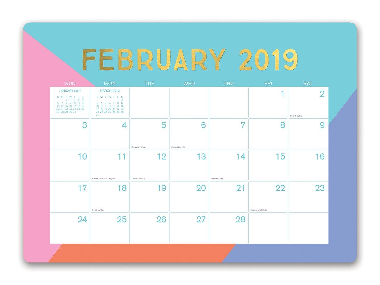 Orange Circle Studio 2019 Decorative Desk Blotter Calendar, August 2018 - December 2019, Botanicals 19055