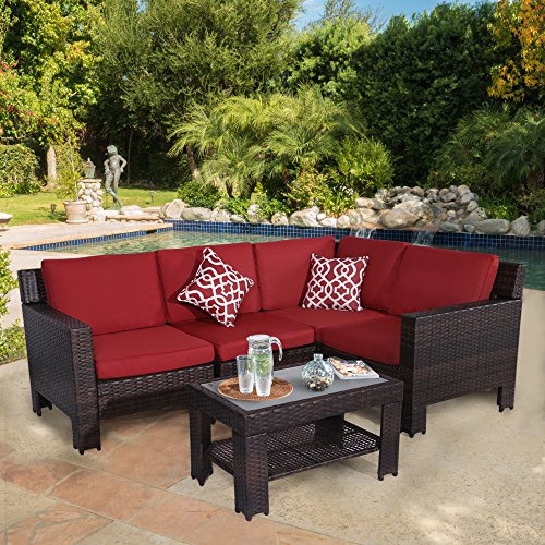 Diensday Outdoor Furniture 5-Piece Conversation Set All Weather Brown Wicker Deep Seating with Red Waterproof Olefin Cushions & Sophisticated Glass Coffee Table | Patio, Backyard, Pool, Porch ()