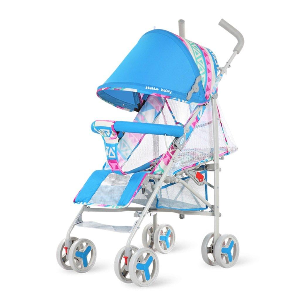 HAIZHEN マウンテンバイク ベビーカート5点シートベルト軽量Foldableは、子供のトロリーを座って/嘘つくことができますフルネットワーク換気調節可能な日除け蚊帳とショッピングバスケットカーボンスチールフレームEVAフォームショックアブソーバーホイールベビーキャリッジ38 * 61 * 102cm 新生児 B07DL9PZN8 Blue-1 Blue-1