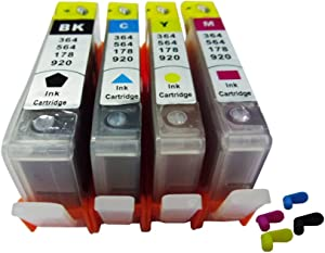 4 Pack ND Brand Dinsink: HP 564 564XL Refillable Ink Cartridges with Chips for HP Deskjet 3520 3521 3522 Officejet 4620 The Item with ND Logo!