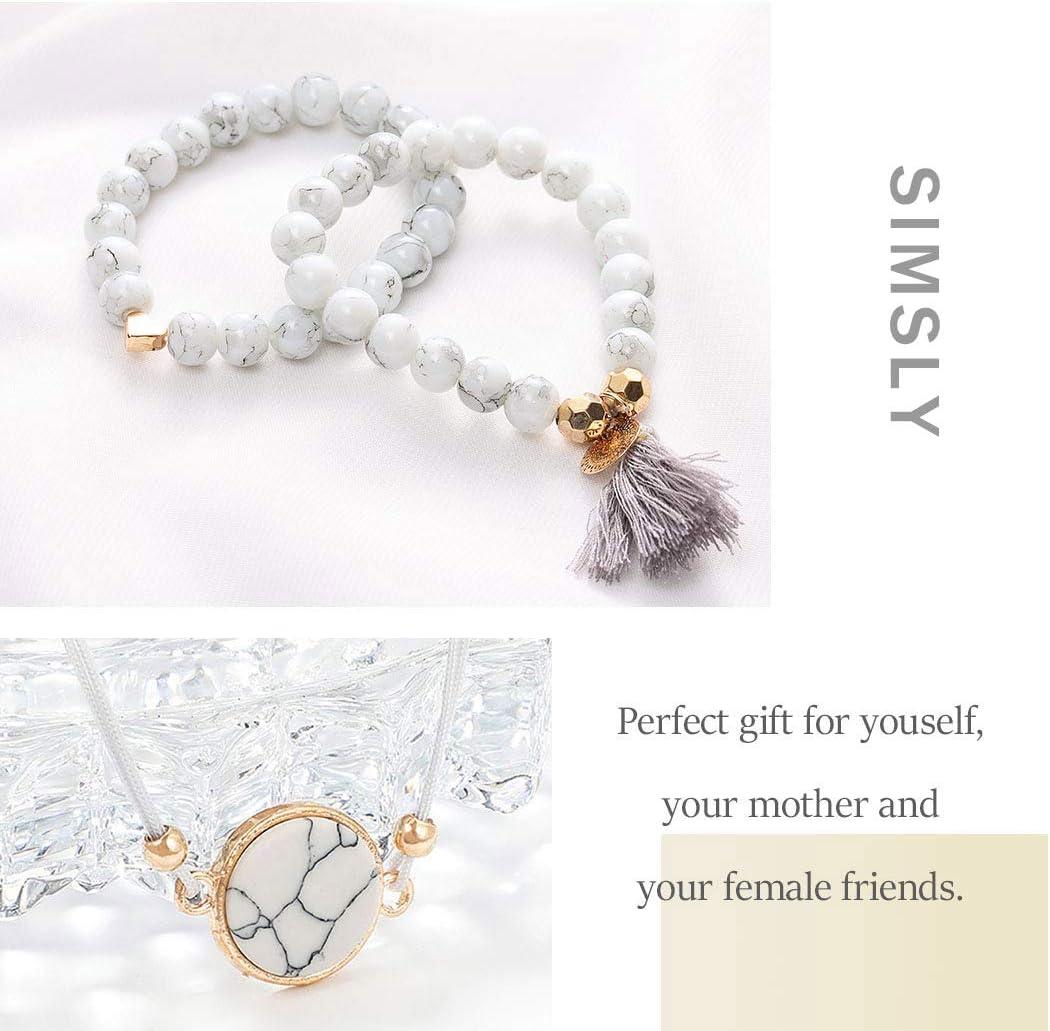 Simsly Lot de 4 bracelets en argent avec perles pour femme et fille