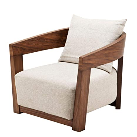 Amazon.com: Wood Frame Beige Linen Accent Chair | EICHHOLTZ ...