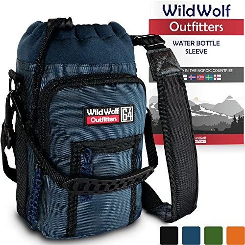 Wild Wolf Outfitters Water Bottle Holder for 64oz Bottles Blue - Carry, Protect and Insulate Your Best Flask with This Military Grade Carrier w/ 2 Pockets & an Adjustable Padded Shoulder Strap. (Bottle Hiking For Water Carrier)