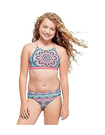 46e00a965867d Amazon.com: Justice Swimwear Reversible Bikini Medallion & Tie dye ...