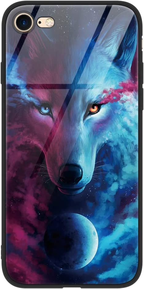 Eouine Apple iPhone 6 / 6s Case, [Anti-Scratch] Shockproof Patterned Tempered Glass Back Cover Case with Soft Silicone Bumper for Apple iPhone 6 / 6s Smartphone (Wolf)