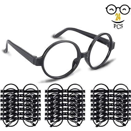 Amazon.com: Gafas de mago con marco redondo sin lentes para ...
