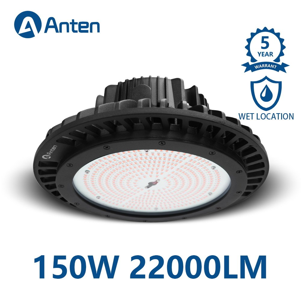 Anten High Bay UFO LED Light 150W 22000LM (600W MH Equivalent) 4000K IP65 Waterproof Industrial Grade Warehouse Gym Hanging Light Workshop Lamp CE Certified