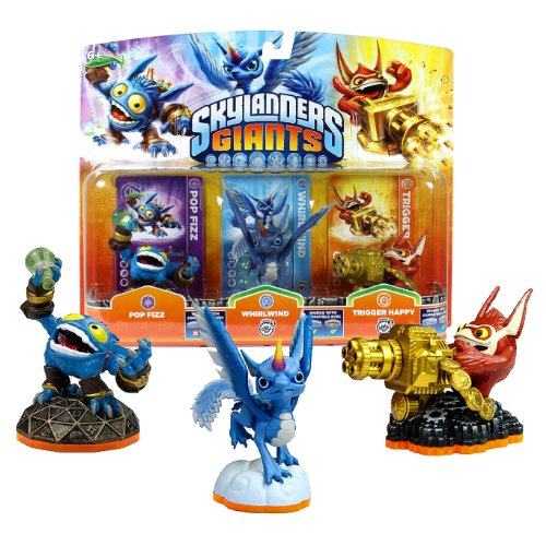 "Activision Year 2011 Video Game Series ""Skylanders Giants"" 3 Pack 2-1/2 Inch Tall Character Game Piece Figure - POP FIZZ, WHIRLWIND and TRIGGER HAPPY (Works with the Skylanders Giants Video Game, Video Game sold Separately)"