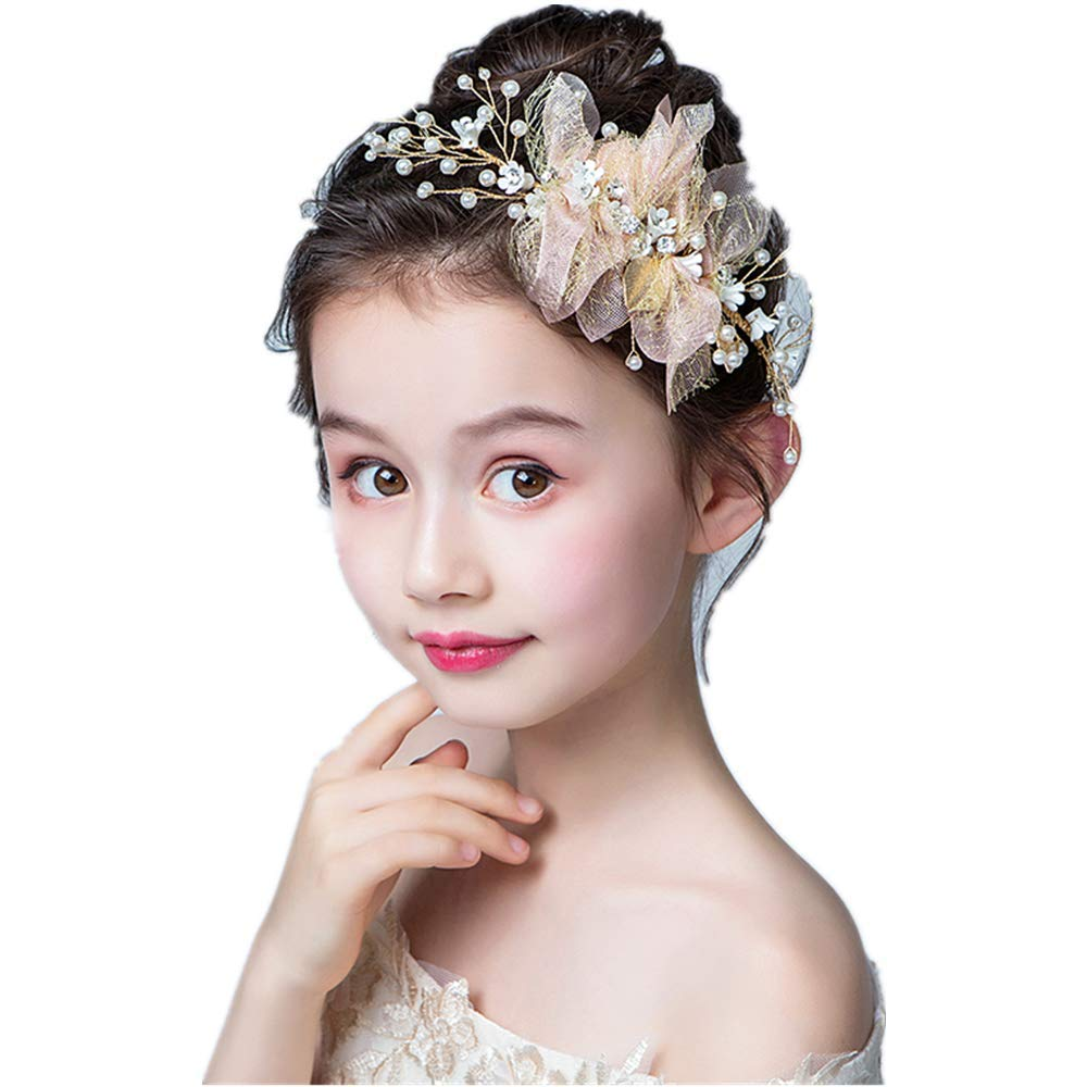 Comb Bridal Hair Accessories Champagne Beaded Lace Wedding Head Piece