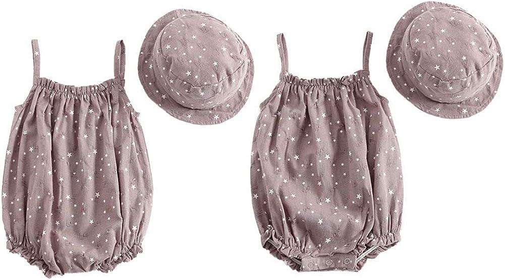 Shiningbaby Baby-Sommerkleidung Set Neugeborenen Strampler und Hut 2 St/ück Beachwear