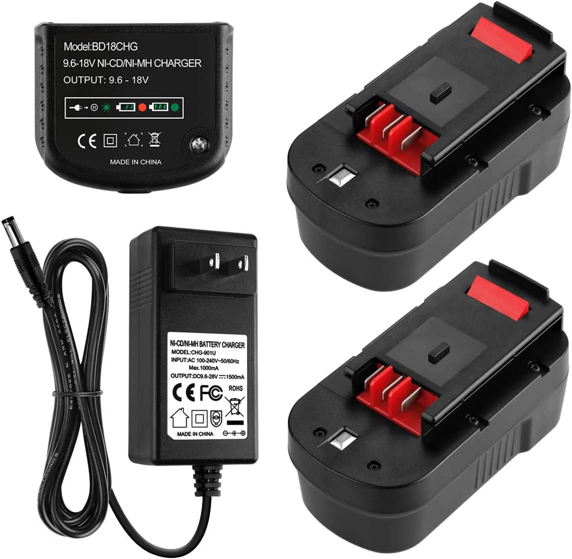 Energup 2Pack 3.5Ah HPB18 Replacement Black and Decker 18V Battery 244760-00 A1718 FS18FL FSB18 Firestorm + 90571729-01 Multi-Volt 1.5Ah Output Battery Charger for Black Decker 9.6-18V Batteries