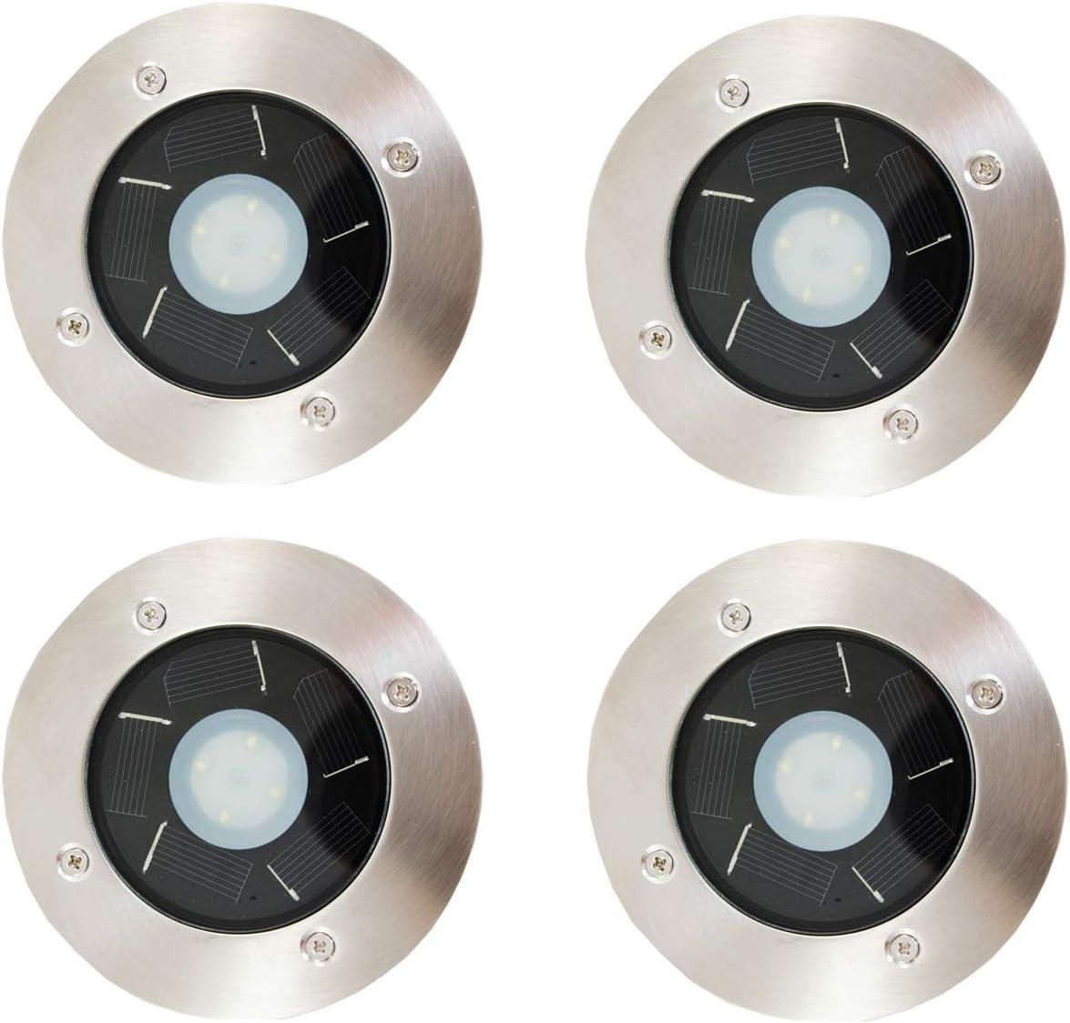 FORCETEK 4-Pack Solar Power Outdoor Stainless Steel 4 LED Step Deck Light