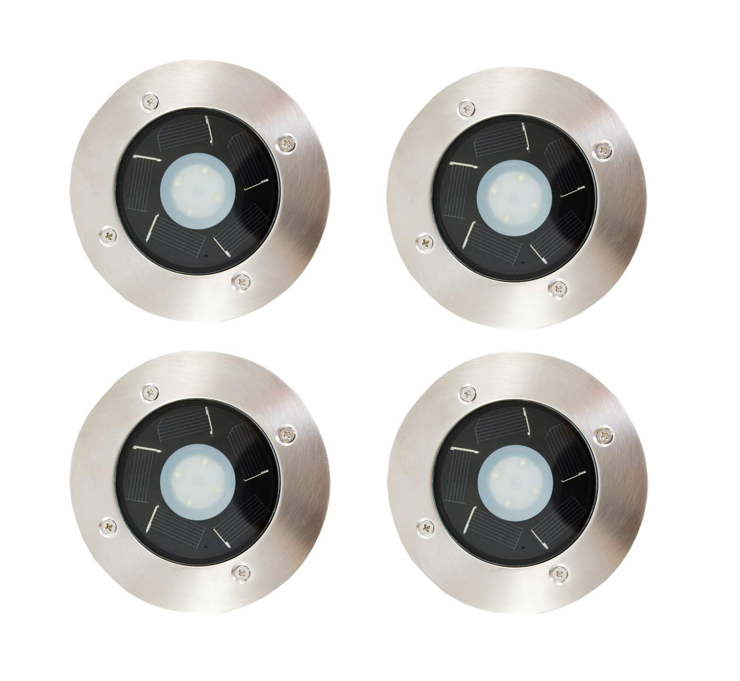 4-Pack Solar Power Outdoor Stainless Steel 4 LED Step / Deck Light by FORCETEK