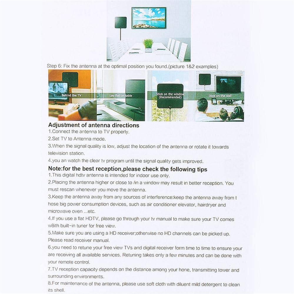 Sunneey Amplificador Antena TV Interior Potente, 80 Milles Antena Digital Exterior HDTV, Amplificador de señal HDTV Booster & Cable: Amazon.es: Electrónica