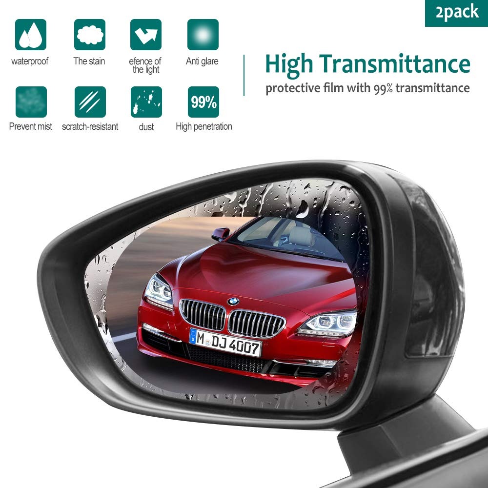 [2 Pack] SPGuard Compatible Car Rearview Mirror Film, HD Anti-Fog Waterproof Anti-Glare,Anti-Scratch,Universal Car Rear View Mirror Window Clear Nano Film (Clear)