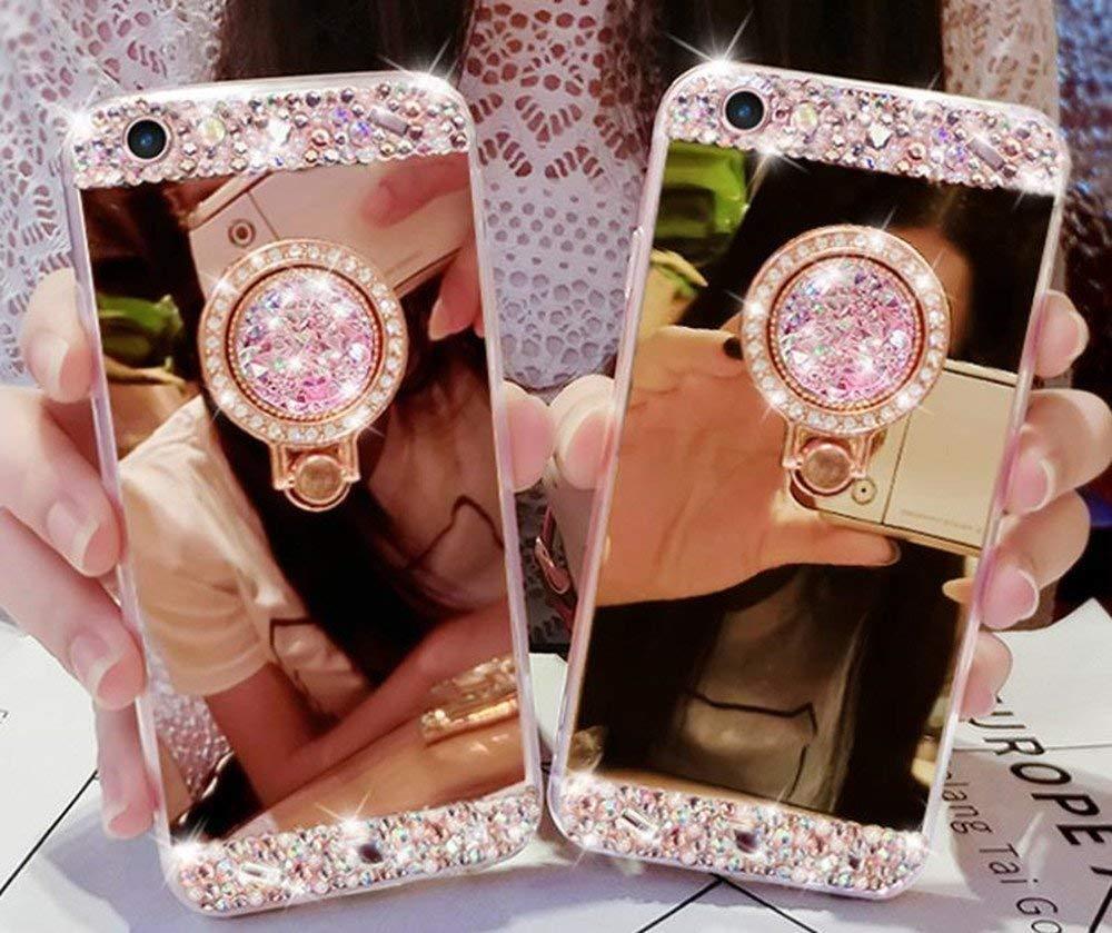 Bling Brillant Diamant Strass avec Anneau B/équille /Étui,Tr/ès Mince Clair Souple Silicone Maquillage Miroir Support Housse-Or Rose Artfeel Briller Miroir Coque pour Samsung Galaxy J6 2018