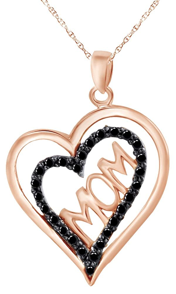 Wishrocks 14K Gold Over Sterling Silver Black Diamond Accent Double Heart Mom Necklace for Mothers Day
