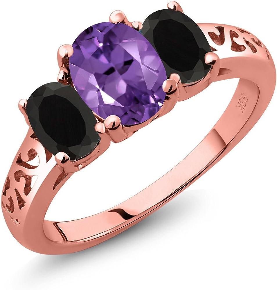 1.33 Ct Oval Black Onyx Purple Amethyst 925 Sterling Silver Ring
