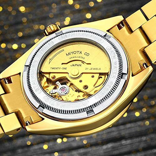 Luxury Men Automatic Mechanical Business Calendar Stainless Steel Military Rhinestone Waterproof Watch (Gold) by Fanmis (Image #4)