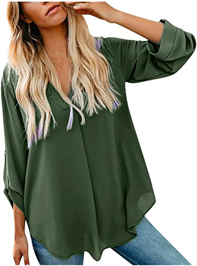 aihihe Womens Plus Size Casual Long Sleeve Button Down T-Shirts Cuffed Sleeve Loose Stripes Print Blouse Tops