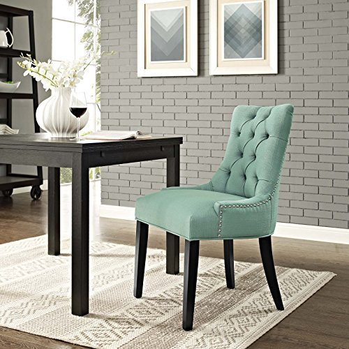 Modway Regent Modern Tufted Upholstered Fabric Kitchen and Dining Room Chair with Nailhead Trim in Laguna