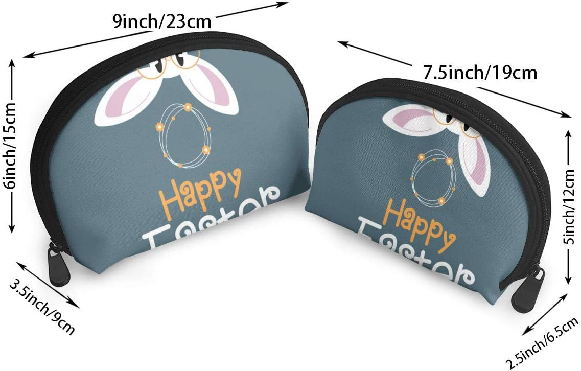 HJDKFIW Personalized Greeting Card with with Easter Rabbit Womens Shell Shape Clutch Bag Organizer Bag Gift 2Pcs