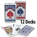 Bicycle Playing Cards Bridge Narrow Size - 12 Decks 6 Blue 6 Red
