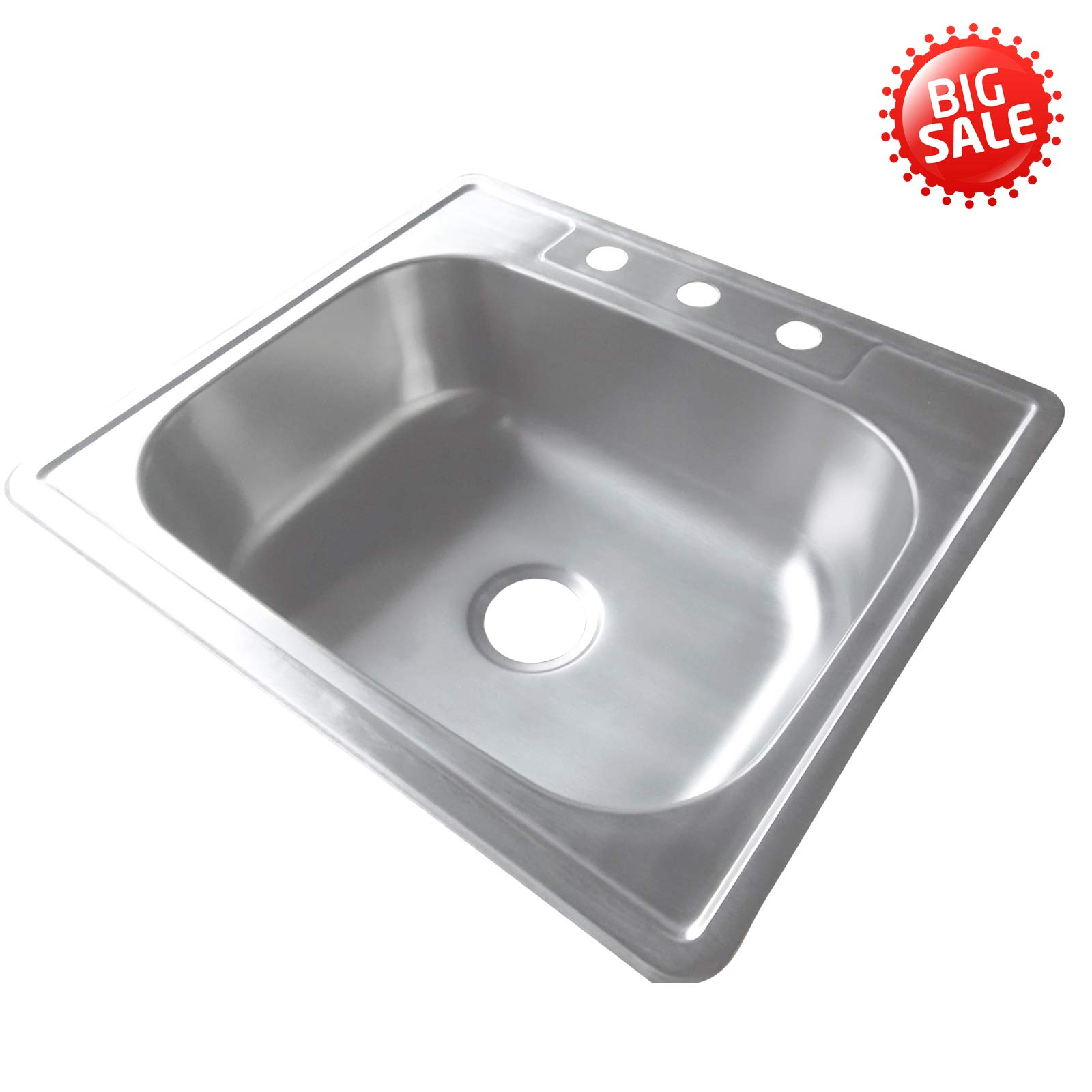 25'' Kitchen Sink Top Mounted Sink Single Bowl Modern Stainless Steel 18 Gauge for 3 Holes Faucet