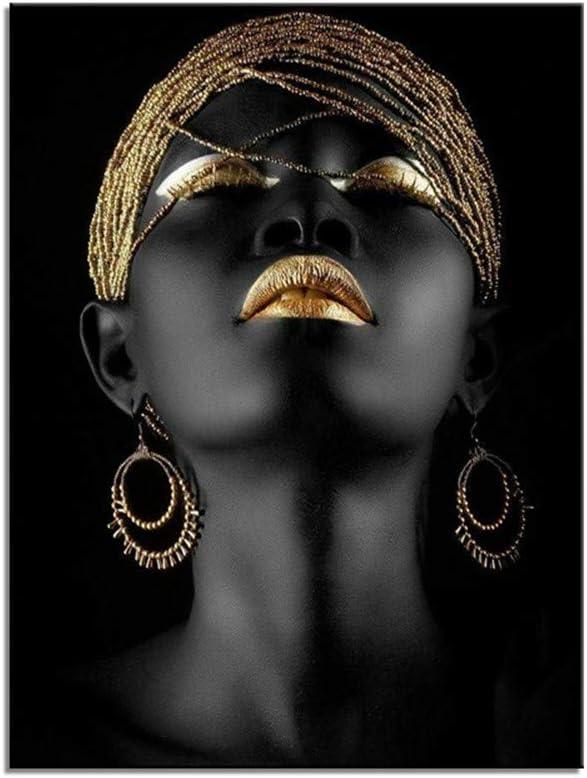 ZSLMX Arte De La Pared Impresa Lienzo Mujer Afroamericana Mujer Negra Pintura Modelo Moda con Labios Sexy Dorados Maquillaje En La Cara Ilustraciones para La DecoracióN Sala Estar, Sin Marco,40x60cm