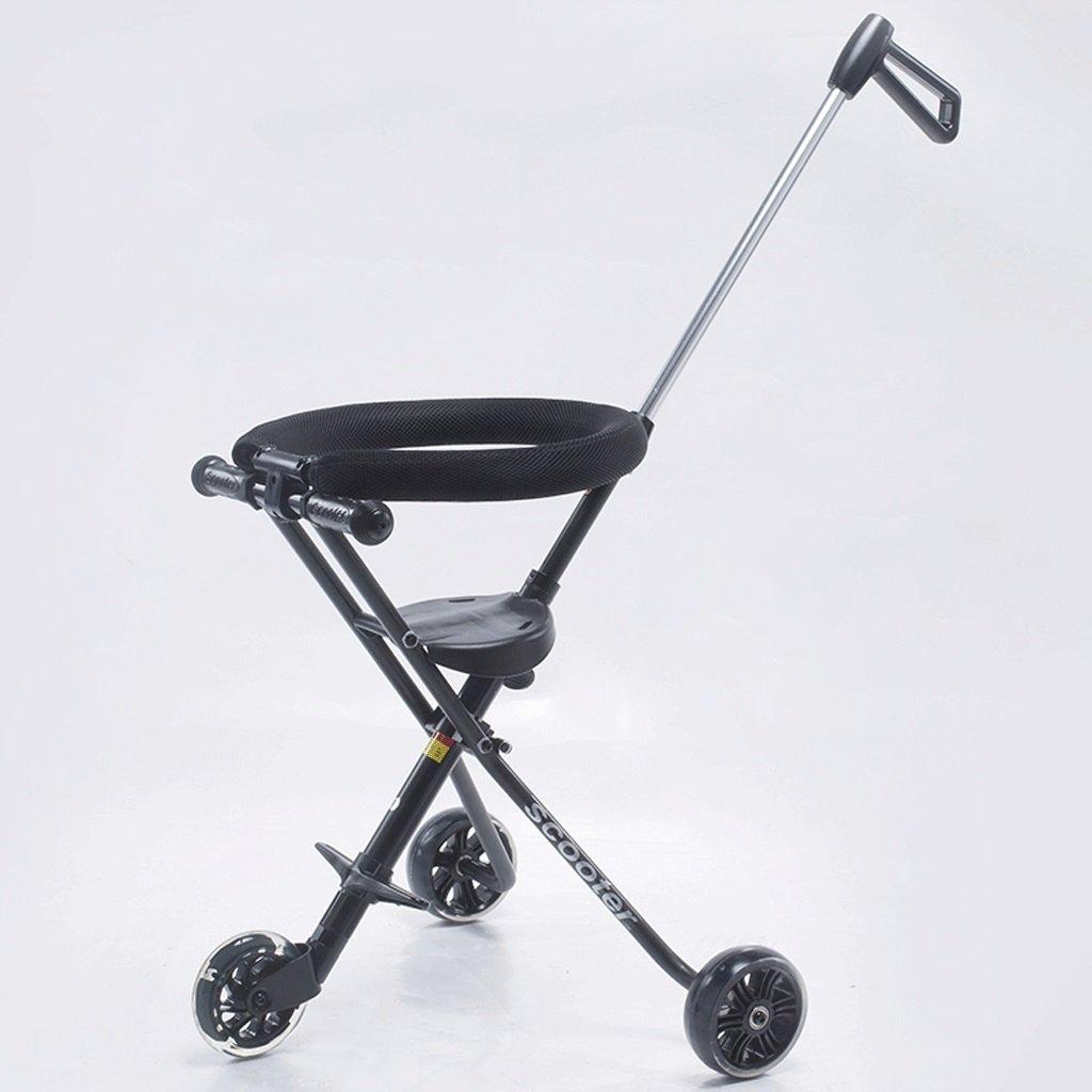 子供の手プッシュ三輪車ベビー折りたたみポータブル三輪車2-6歳の子供のベビーカー、白、黒 ( Color : Black ) B07C6M8825