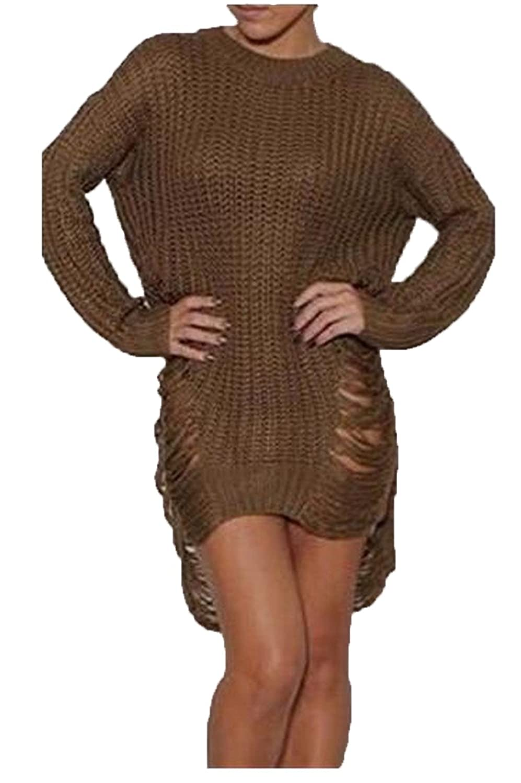 Zago Women's Irregular Long Sleeve Chic Hole Knitted Sweater