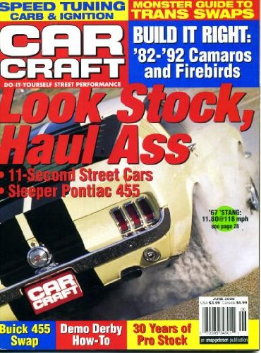 Car Craft June 2000 Ford 1967 Mustang on Cover, Guide to Transmission Stops, Pontiac 455, Buick 455 Swap, Speed-Tuning Carb and Ignition, Build It Right - '82 to '92 Camaros and Firebirds, 1969 Camaro, Homemade Heat Shield