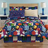 Boys Twin Sports Football Soccer 6 Piece Comforter Set Sheet Set Bed Bag Set