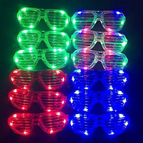 M.best Unisex Flashing Plastic Glow LED Light Up Shades Show Toy Glasses Party Favors Supplies Set of - Sunglasses That Up Light